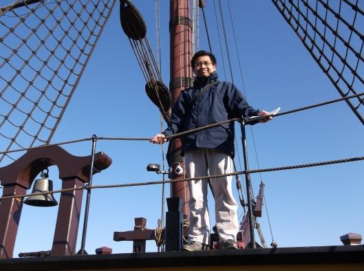 Di atas dek kapal VOC. Muzium Perkapalan, Amsterdam.
