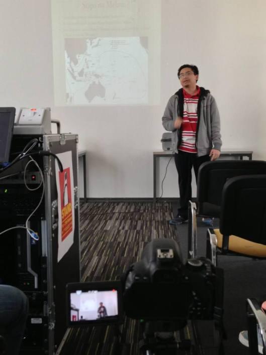 Sesi saya semasa Seminar Peradaban Melayu, Februari 2104. Pembentang lain termasuklah Imran dan Shahkang.
